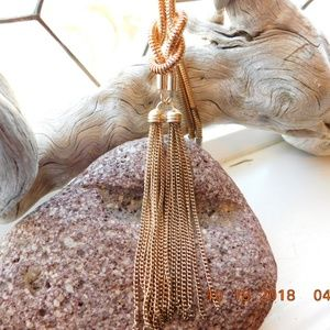 Jewelry - Vintage Long Gold Tone Tassel Necklace 34 Inches